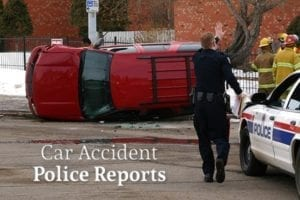 "An overturned car, a cop, a police car, and a group of firefighters are on a road beside the words ""Car Accident Police Reports"""