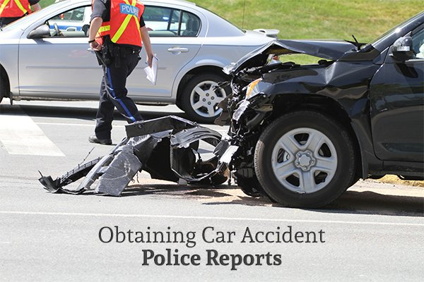 "A destroyed car after an auto accident above the words ""Obtaining Car Accident Police Reports"""