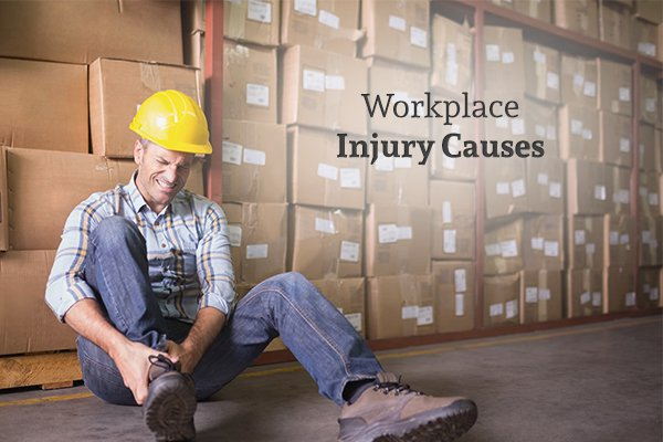 "A worker holding his hurt leg in a lot of pain, sitting against stacks of boxes, beside the words ""Workplace Injury Causes"""