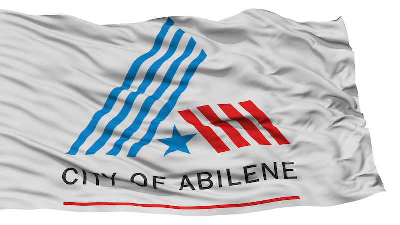 Isolated Abilene Flag, City of Texas State, Waving on White Background