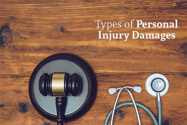A wooden desk with a gavel and a stethoscope below the words types of personal injury damages