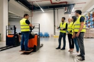 Employee training on how to properly operate a forklift