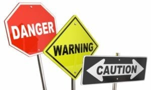 3D Illustration of Danger, Warning, and Caution signs