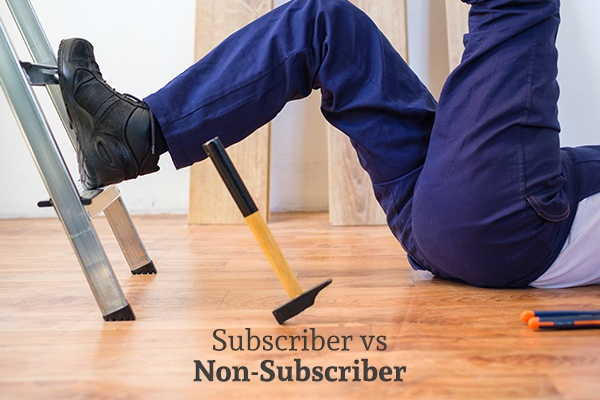 A man has fallen off of a ladder and dropped a hammer, with words that read, subscriber vs non subscriber.