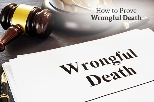 A gavel sitting on a desk next to a piece of paper with the words, how to prove wrongful death.