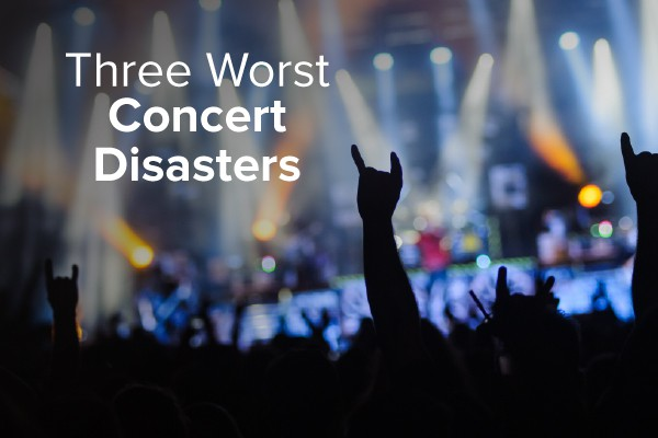 Concert goers rocking along to a song with the words, three worst concert disasters.