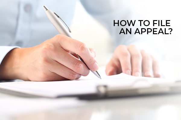 A lawyer filling out a document with the words, how to file an appeal.