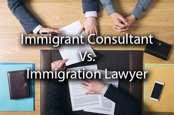 Lawyers discussing information with a client with the words, immigration consultant vs immigration lawyer.