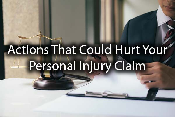 A lawyer working with the words, actions that could hurt your personal injury claim.
